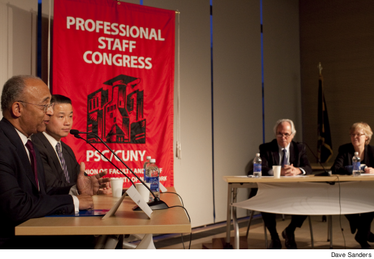 Thompson and Liu with Robbins and Bowen mayoralforum11.jpg